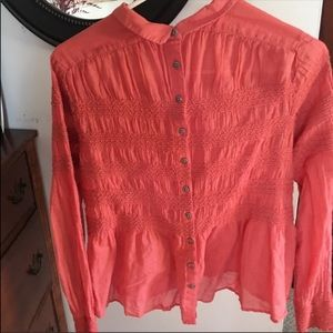 Free People Button Back Blouse
